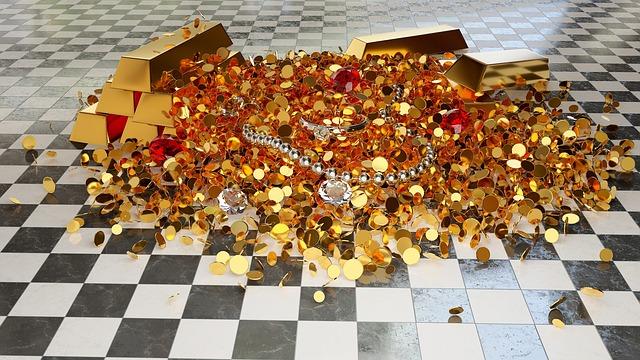 zlatý poklad na podlaze – šachovnici